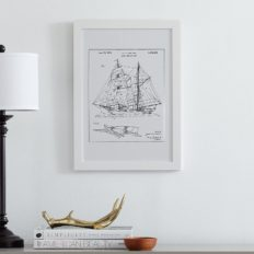 "Amazon Brand – Stone & Beam Modern Metallic Ink Reprint of Sailing Ship Patent, White Frame, 15"" x 21"""