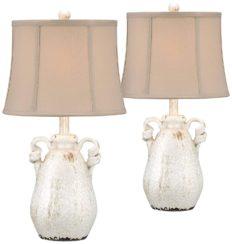 Sofia Cottage Table Lamps Set of 2 Ceramic Crackled Farmhouse Ivory Jar Beige Bell Shade for Living Room Family Bedroom - Regency Hill