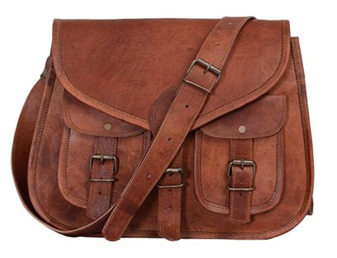 KPL 14 Inch Leather crossbody bags Purse Women Shoulder Bag Satchel Ladies Tote Travel Purse full grain Leather (Tan Brown)