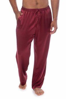 TexereSilk Men's Luxury Silk Pajama Pants (Hiruko, Burgundy, XXL) Best Xmas Gifts