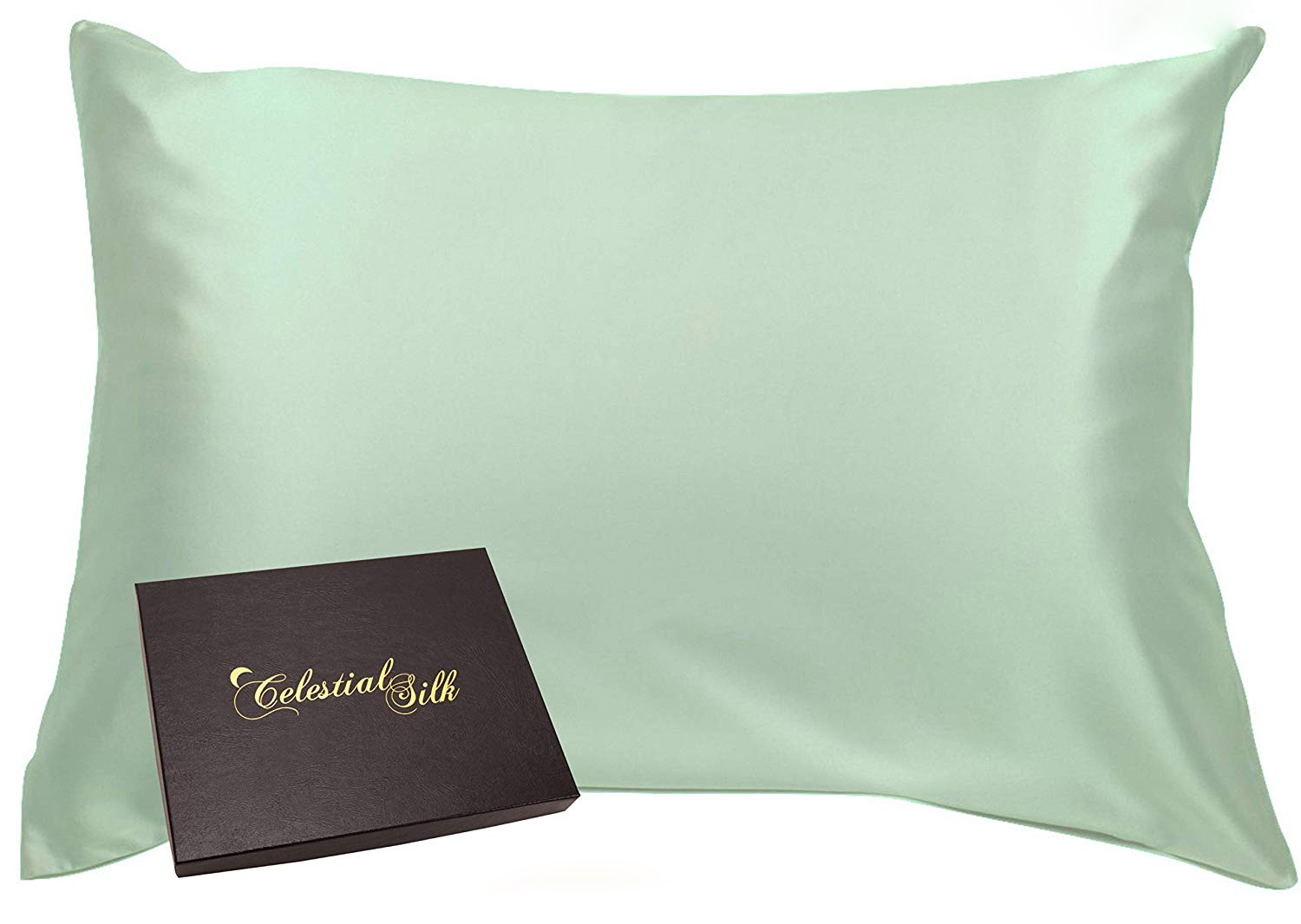 Celestial Silk 100% Silk Pillowcase for Hair Zippered Luxury 25 Momme Mulberry Silk Charmeuse Silk on Both Sides of Cover -Gift Wrapped- (King, Mint Green)