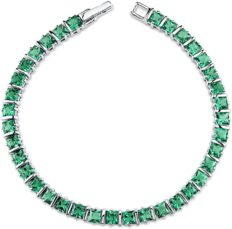 Peora Simulated Emerald Tennis Bracelet for Women in Sterling Silver, Princess Cut, 13 Carats total, 7.75 inches