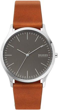 Skagen Men's Jorn Quartz Analog Stainless Steel and Leather Watch, Color: Metallic (Model: SKW6552)