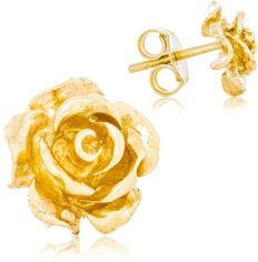 Solid 14K Yellow Gold Rose Flower Stud Earrings Handcrafted style 3/8 inch with Post and Friction Back | 2.4g
