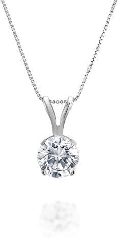 1/5ct tw Diamond Solitaire Pendant in 14k White Gold (H-I, I2-I3, 18 inch)