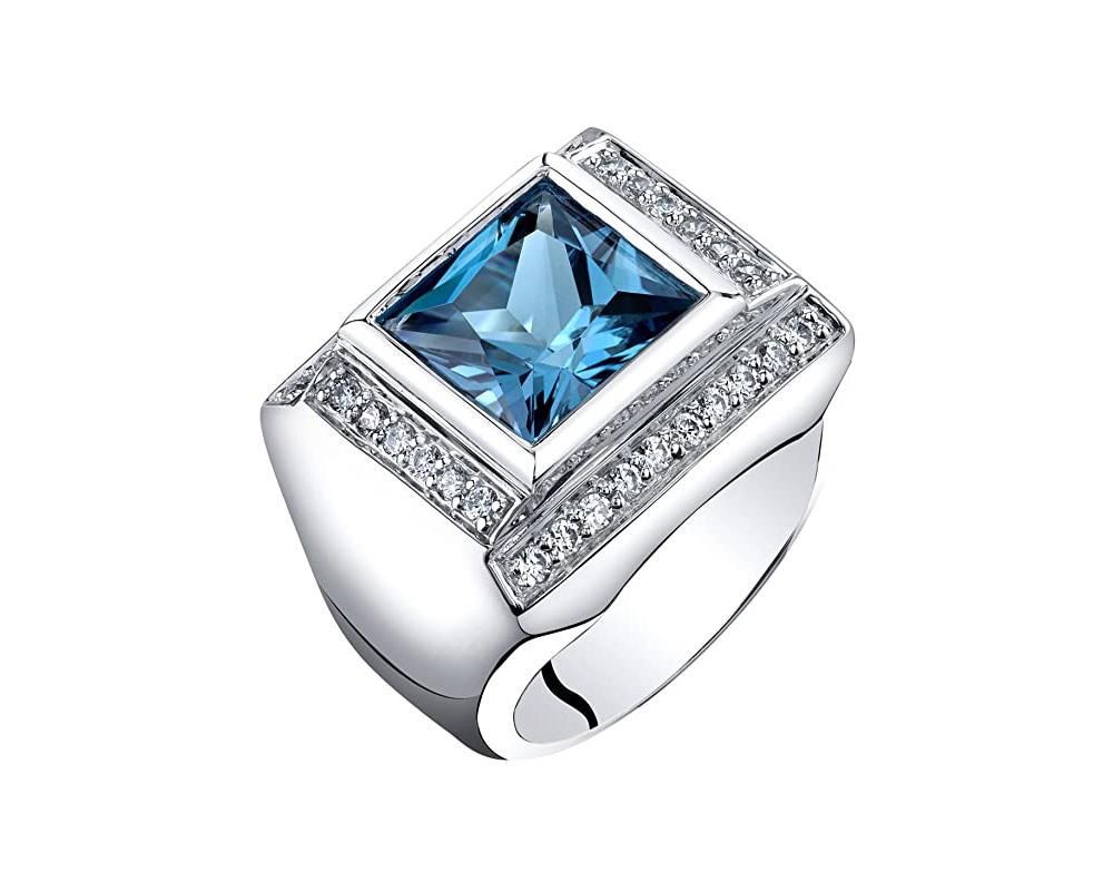 Mens 5 Carats London Blue Topaz Ring Sterling Silver Princess Cut Size 11