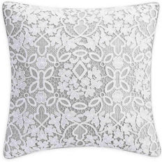 Bridge Street Anabelle Lace Square Throw Pillow in Grey