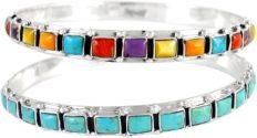 Two Stackable 925 Sterling Silver Bangle Bracelets Genuine Turquoise & Gemstones (2 pcs)