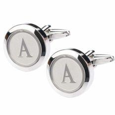 Dannyshi Mens Classic Stainless Steel Initial Cufflinks 26 Alphabet Initial Letter Cufflinks Business Wedding Shirts A-Z (A)