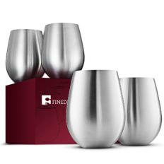 Stainless Steel Unbreakable Wine Glasses - 18 Ounce Set of 4 Wineglasses. Premium-Grade 18/8 Stainless Steel Red & White Stemless Wineglasses set, Portable Wine Tumbler, for Outdoor Events, Picnics