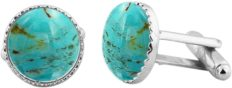 16.15ct,Genuine Turquoise & 925 Silver Plated Cufflinks