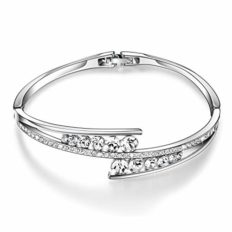 Menton Ezil Love Encounter Women Bangle Bracelets with Crystal White Gold Plated Adjustable Hinged Jewelry