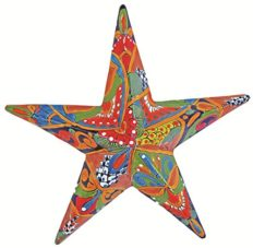 Talavera Pottery Store Wall Star Medium Hand Painted Indoor Outdoor Multi Colored Figure Glazed