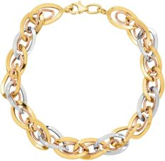 Eternity Gold Interlocking Oval Link Chain Bracelet in Three-Tone 10K Gold