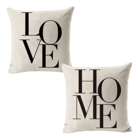 All Smiles Decorative Throw Pillow Covers 18x18 Set of 2 Summer Cases Farmhouse Decor Housewarming Gifts Decoration Quote Words Outdoor Cushion for Couch Sofa Bed Bedroom New Home,Love Home