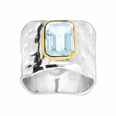 Silpada 'Lakeside' Natural Sky Blue Topaz Ring in Sterling Silver & Gold Plate, Size 7