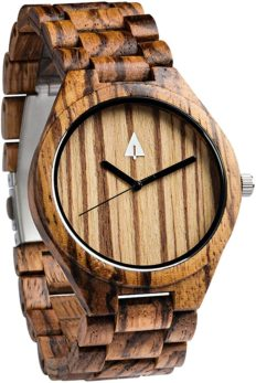 Treehut Men's Zebrawood Wooden Watch with Zebrawood Wood Strap Quartz Analog