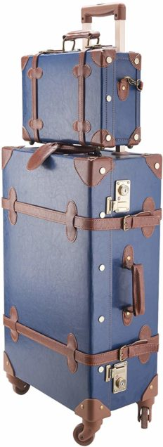 """CO-Z Premium Vintage Luggage Sets 24"""" Trolley Suitcase and 12"""" Hand Bag Set with TSA Locks (12"""" +24"""" Blue)"""