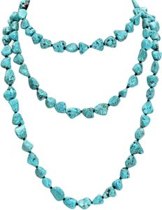 """Turquoise Beads Endless Necklace Long Knotted Stone Multi-Strand Layer Necklaces Handmade Jewelry 59"""""""