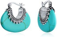 Boho Bali Style Tribal Blue Stabilized Turquoise Oval Half Crescent Hoop Earrings For Women Oxidized Milgrain Caviar Bead 925 Sterling Silver