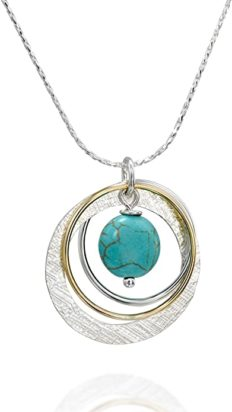 """Two Tone 925 Silver & 14k Gold Filled Multi Hoops Compressed Turquoise Pendant Necklace, 18"""" + 4"""" Extender"""