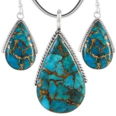 """Turquoise Pendant & Earrings Set in 925 Sterling Silver with 20"""" Chain (Pendant+Earrings+Chain)"""