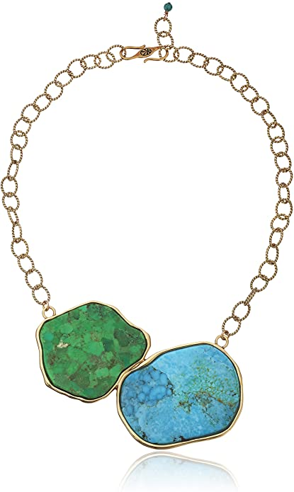 Barse Turquoise and Lime Turquoise Statement Necklace
