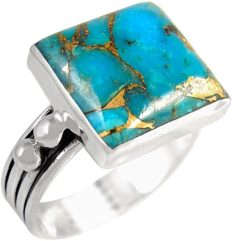 Turquoise Ring in Sterling Silver 925 & Genuine Turquoise Size 6 to 11 (SELECT color)