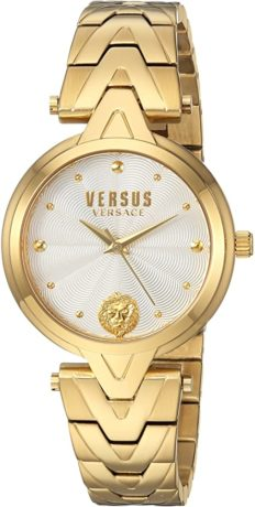 Versus by Versace Women's V Bracelet Quartz Watch with Stainless-Steel Strap, Gold, 18 (Model: SCI250017)