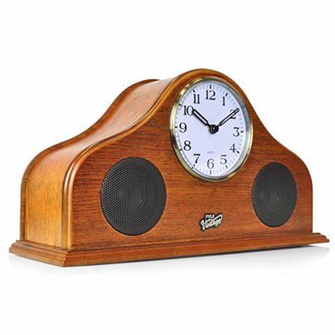 Pyle 2-in-1 Vintage Style Clock - Retro Bluetooth Speaker, Tabletop Clock, Handcrafted Birchwood, Quartz Clock, USB Charging, Full Bass Sound System, Built-in Speakers, 25 Watt, Brown (PVNTLCL41BT)