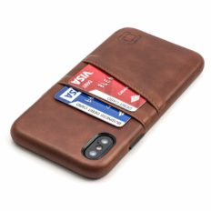 Dockem Exec iPhone X/XS Wallet Case: Slim Vintage Synthetic Leather Case with 2 Credit Card/ID Holder Slots, Simple Professional Snap On Cover [Brown]