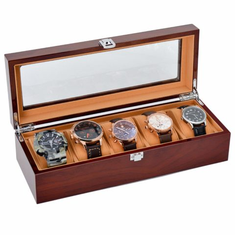 JINDILONG Watch Case for Men 5 Slot with Glass Top Solid Wood Watch Storage Organizer Display Box, Best Present for Birthday,Valentine's Day, Wedding, Christmas and New Year