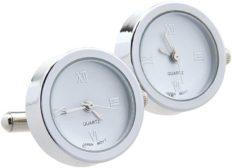 ZnMig Personality Men's Stainless Steel Quartz Watch Cufflinks When Walking, Watch Watch, Electronic Watch, Movement Cuff, Cufflinks (2 Colors) Fashionable Retro Cuff Links