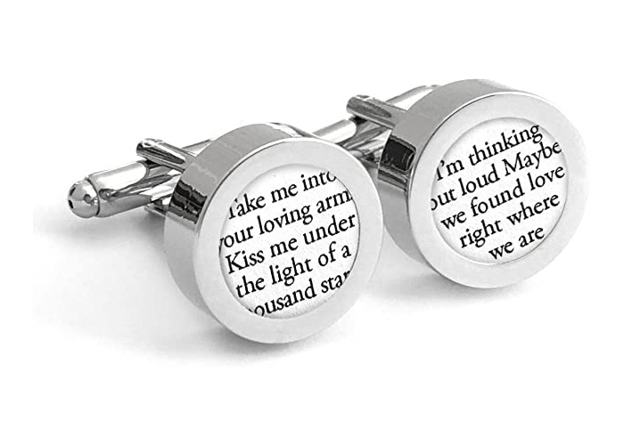 Custom Cufflinks with Wedding Vows/First for Him