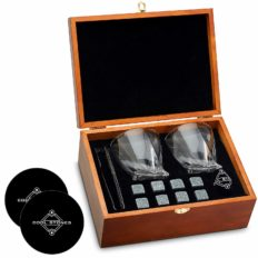 Whiskey Stones and Whiskey Glass Gift Boxed Set, 8 Granite Chilling Whisky Rocks, 2 Glasses in Wooden Box, Great Gift for Father's Day, Dad's Birthday or Anytime For Dad, Plus 2 Free Coasters