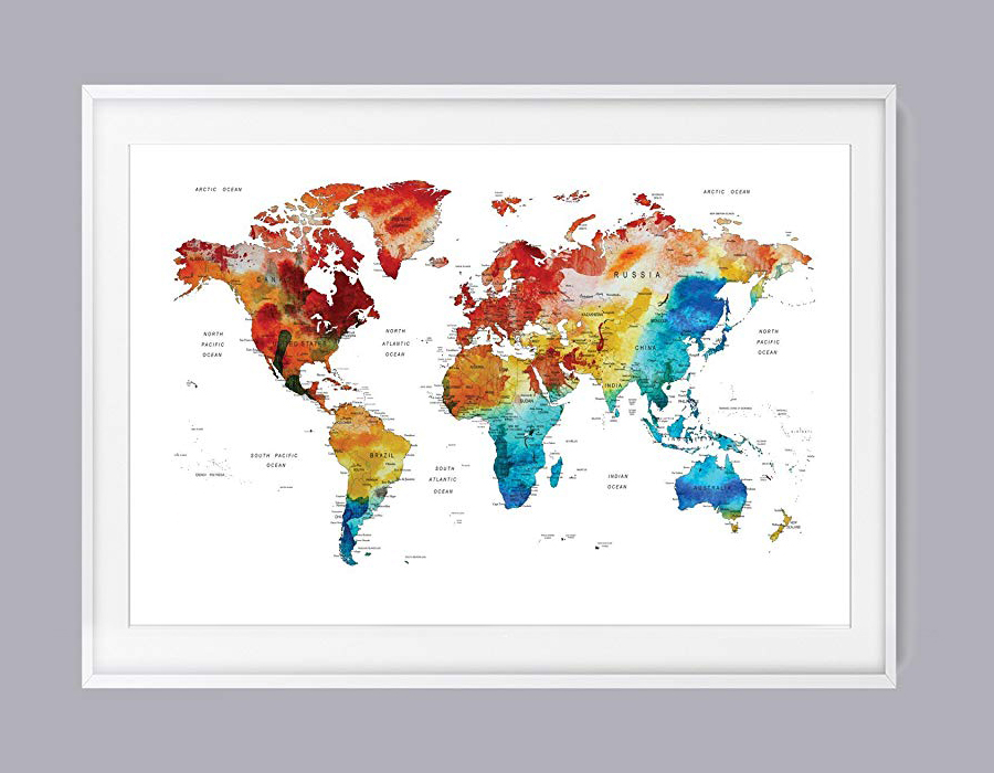 World Map Scratch Off Wall Art Poster, Watercolor World Map Travel Tracker Large, 60x80 cm Abstract World Map. Scratch map, Gift For Travelers Travel Map With Usa States And Countries