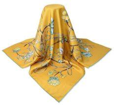 Corciova 35 Square Lightweight Satin Twill Real Silk Women Head Scarfs 14 Momme Naples Yellow Flowers