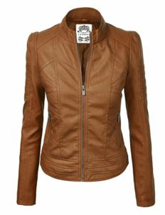 Made By Johnny MBJ WJC746 Womens Vegan Leather Motorcycle Jacket S Camel