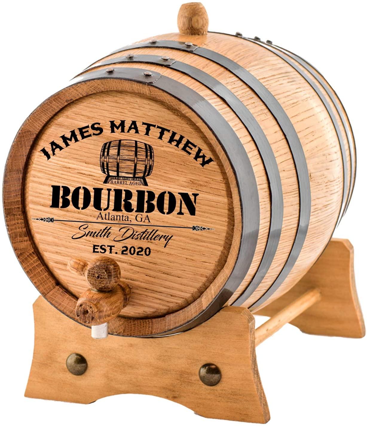 Personalized - Custom American White Oak Bourbon Aging Barrel - Oak Barrel Aged (1 Liter, Black Hoops)