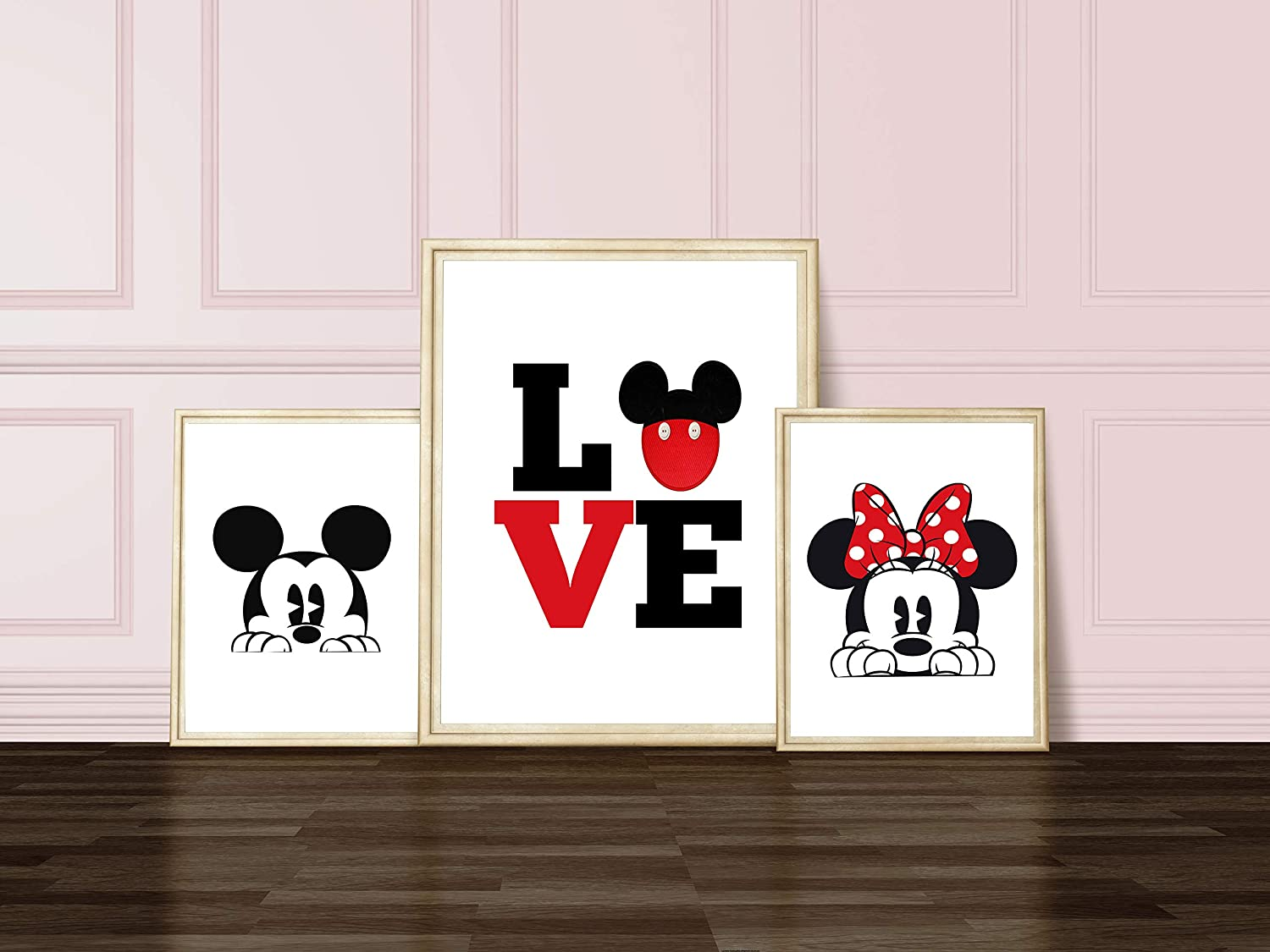 Minnie and Mickey Mouse Bathroom OR Bedroom Prints - Silhouette - Love - Set of 3 Prints ((unframed))