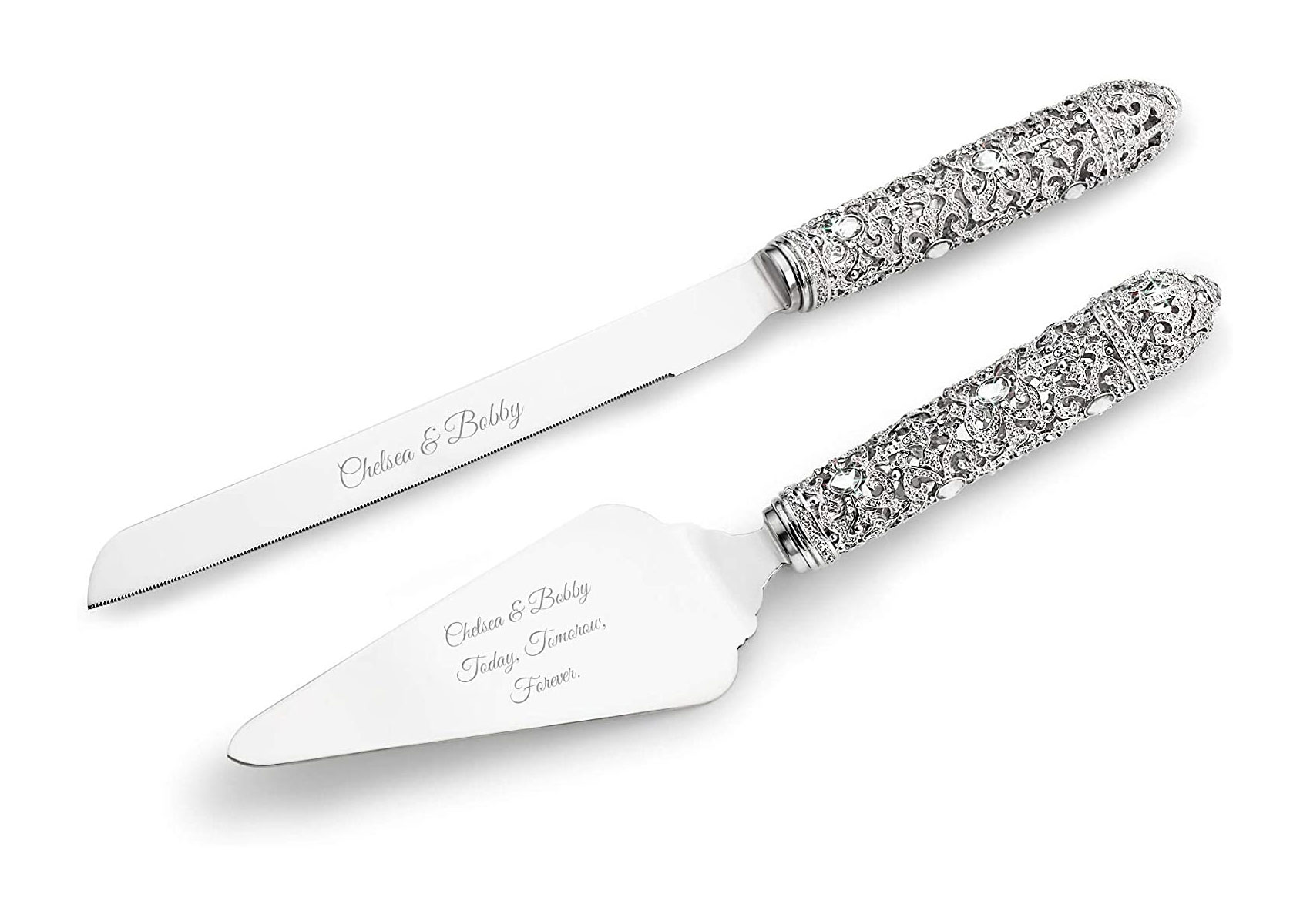 Things Remembered Personalized Fifth Avenue Filigree Cake Server Set with Engraving Included