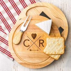 Personalized Cheese Board and Knife Set - Anniverary Gifts for Boyfriend Girlfriend - Engagement Gifts for Couples