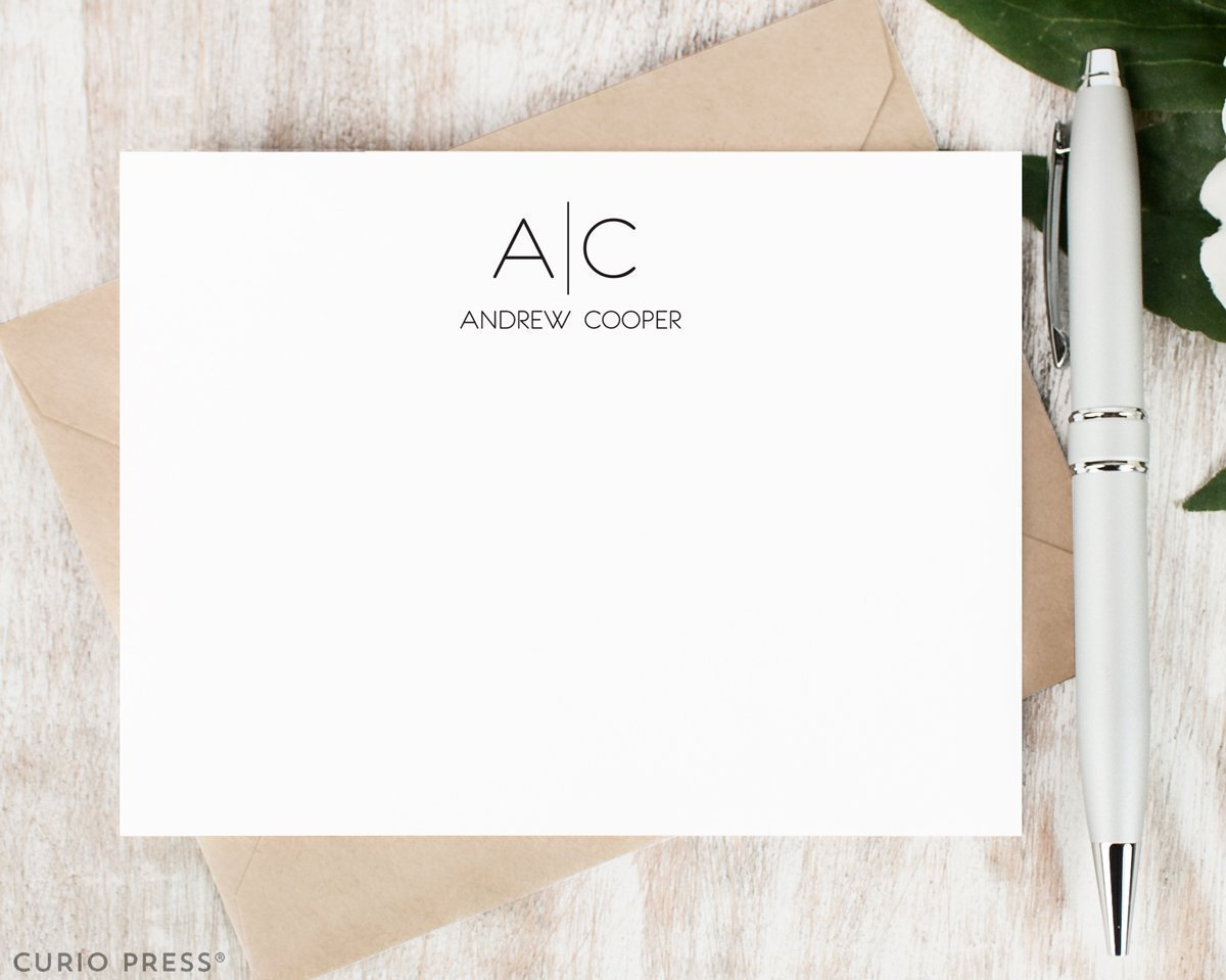 THIN LINE MONOGRAM FLAT - Personalized Flat Modern Professional Everyday Mens Day Stationery/Stationary Note Card Set
