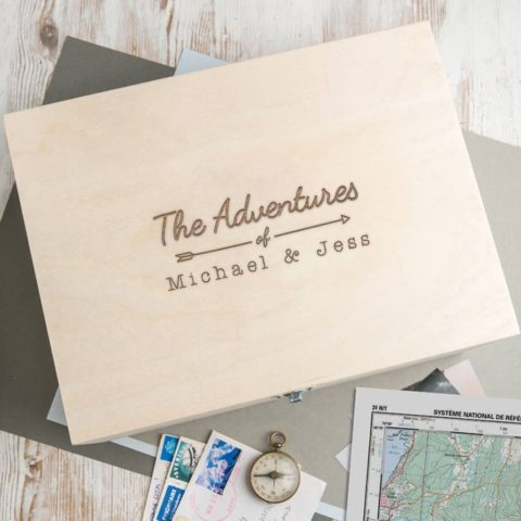 """Personalized Wooden Keepsake Box -""""The Adventures Of."""" Design - Anniversary Engagement Gifts for Couples - Christmas Xmas Holiday Present for Boyfriend Girlfriend"""