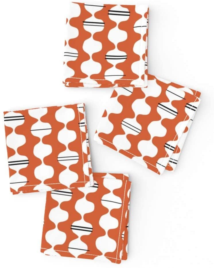 Roostery Cloth Cocktail Napkins, Midcentury Wavy Mid Century Modern Orange Coral Stripe Print, Cotton Sateen Cocktail Napkins, 10in x 10in, Set of 4