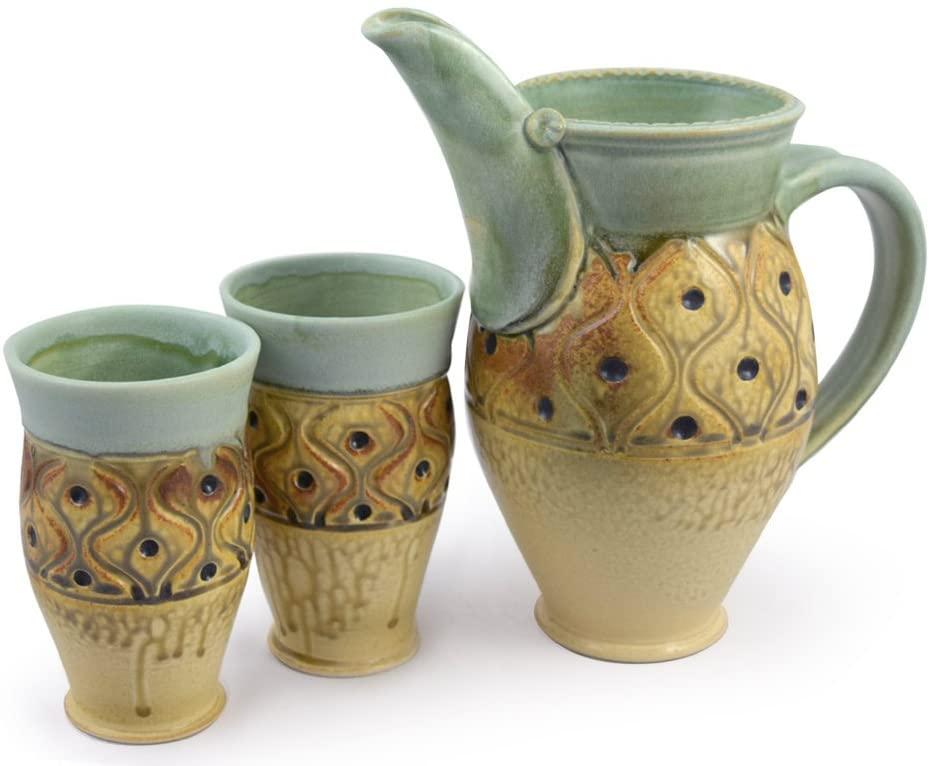 American Made Stoneware Pottery Pitcher + Tumbler Set with Diamond Tuft Pattern