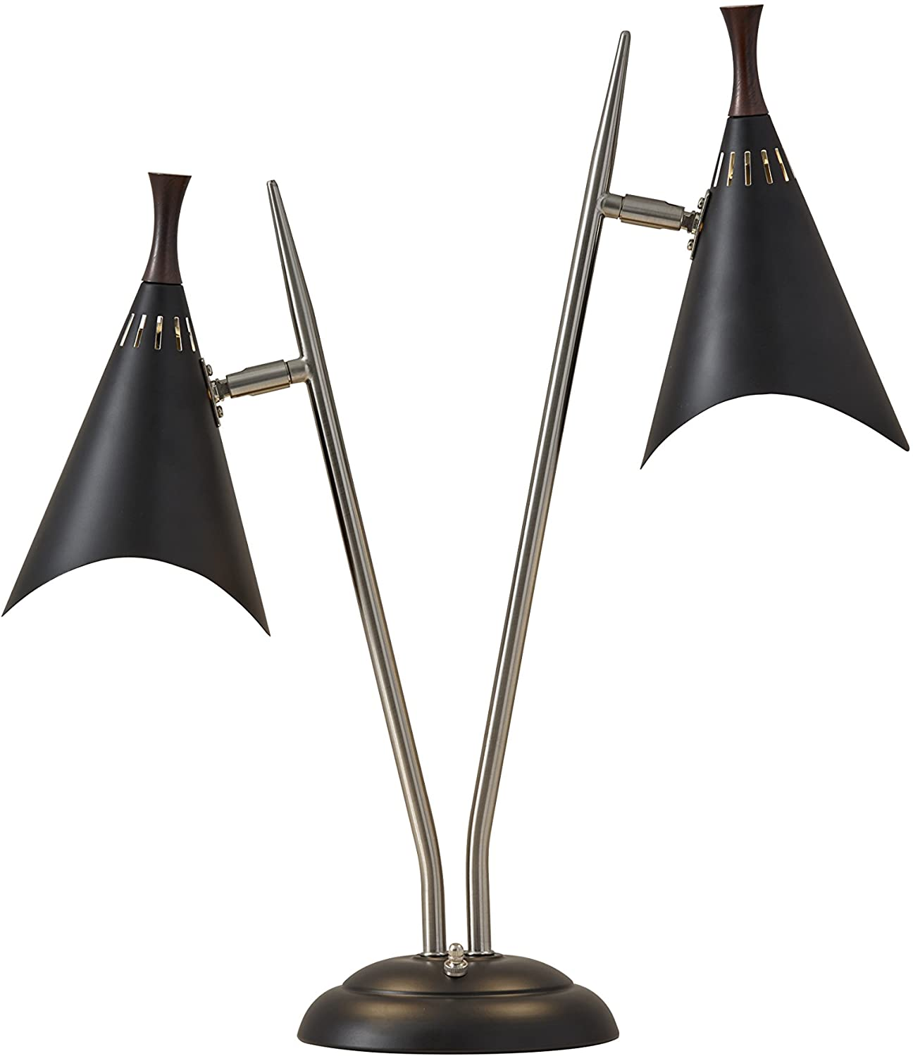 Adesso 3235-01 Draper Desk Lamp, 22 in, 2 x 60W Incandescent/ 2 x 13W CFL, Brushed Steel/Black Painted w/Wood Accent, 1 Table Lamp