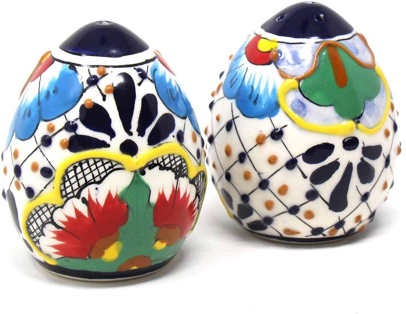 Global Crafts Encantada Handmade Hand-Painted Authentic Mexican Pottery, Salt and Pepper Shaker Set, Dots & Flowers (MC085D-K2)