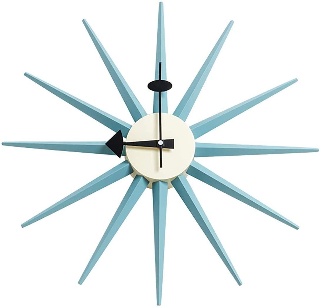 SHISEDECO Mid Century Retro Design George Nelson Sunburst Clock Blue Color Silent Wooden Decorative Modern Silent Wall Clock (Full Range Available) (Nelson Sunburst Clock Blue Color)