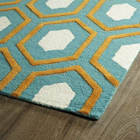Kaleen Rugs Spaces Collection SPA03-91 Teal Hand Tufted Rug, 8' x 10'
